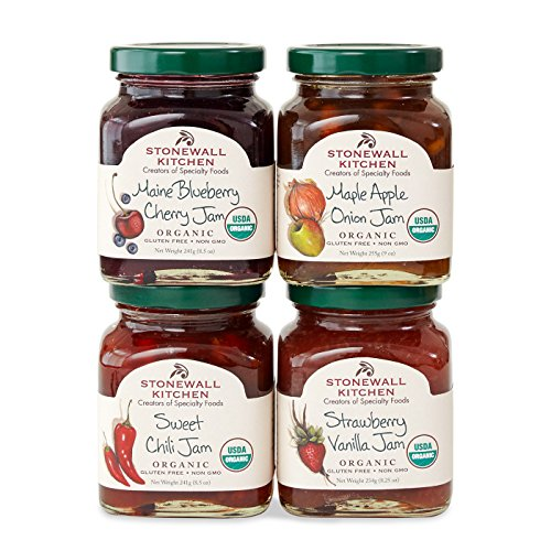 Stonewall Kitchen Our Organic Jam Collection Includes 1 Maple Apple Onion Jam, 1 Sweet Chili Jam, 1 Strawberry Vanilla Jam and, 1 Maine Blueberry Cherry Jam by Stonewall Kitchen