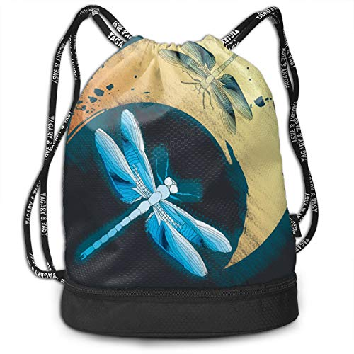 Zhangyi Dragonfly and Moon Drawstring Backpack Sports Gym Cinch Sack Bag for Gym Traveling Gymsack Sackpack -