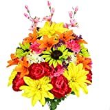 Admired By Nature 36 Stems Artificial New Dahlia, Sunflower, Peony, Hydrangea Mixed Flower Bush with Greenery for Mother's Day, Home, Wedding, Restaurant & Office Decoration Arrangement