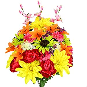 Admired By Nature 36 Stems Artificial New Dahlia, Sunflower, Peony, Hydrangea Mixed Flower Bush with Greenery for Home, Wedding, Restaurant & office Decoration Arrangement 22