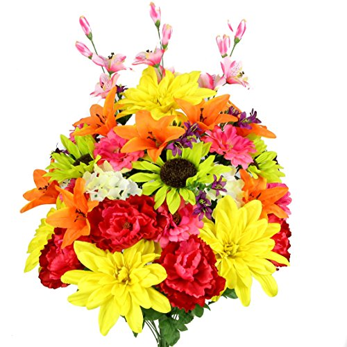 Admired By Nature 36 Stems Artificial New Dahlia, Sunflower, Peony, Hydrangea Mixed Flower Bush with Greenery for Mother's Day, Home, Wedding, Restaurant & Office Decoration Arrangement by Admired By Nature