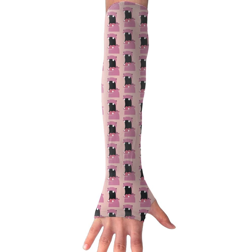 Unisex Pink Hippo Sunscreen Outdoor Sports Arm Warmer Long Sleeves Glove