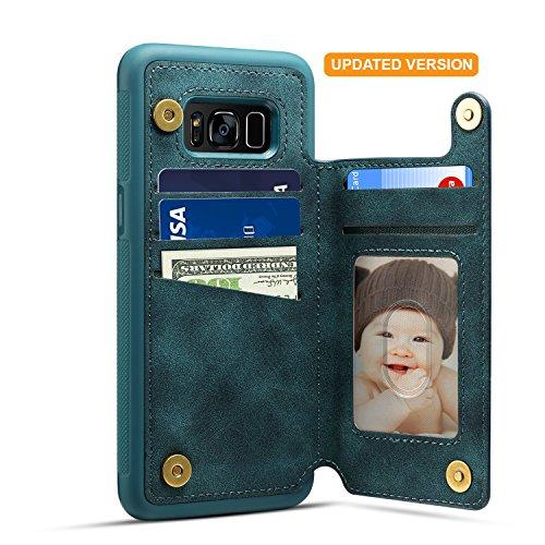 Samsung Galaxy S8 Card Holder Case, Galaxy 8 Wallet Case Spaysi(TM) Slim, Galaxy S8 Folio Leather case 2017, Gift Box, for Galaxy S8 (Blue)