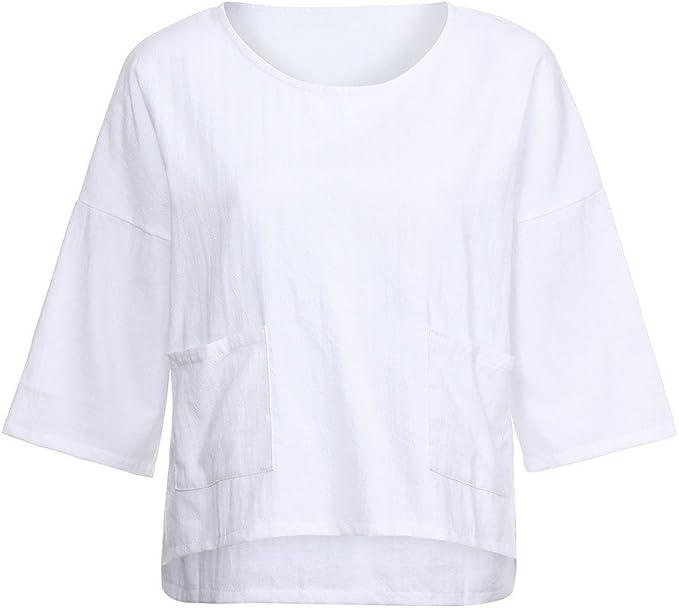 BHYDRY Camisa Holgada Suelta de Talla Grande para Mujer Blusa con Tope Informal(,) : Amazon.es: Ropa y accesorios