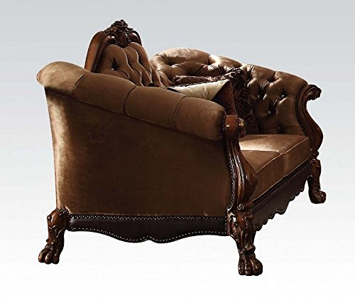 Acme Furniture 52096 Dresden Loveseat w/5 Pillows, Golden Brown Velvet & Cherry Oak