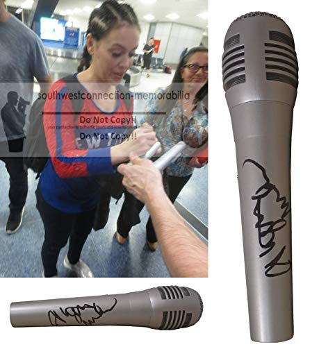 Alyssa Milano Signed Hand Autographed Microphone with Exact Proof Photo of Alyssa Signing the Mic, Who's The Boss, Look In My Heart, Locked Inside a Dream, Do You See Me?, We Are The World, COA