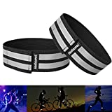 Fantaseal® High Reflective Safety Belt High Visibility Elastic Sports Wearable Bands Ankle Bands Armbands Wristband Sweatband Wrist Wrap Leg Strap Belt Reflective Fabric Tape Safety Sports Brace for Walking Jogging Running Cycling Sports & Outdoor Activity Gear- 2 pack ( 37 cm / 14 inch, Black )