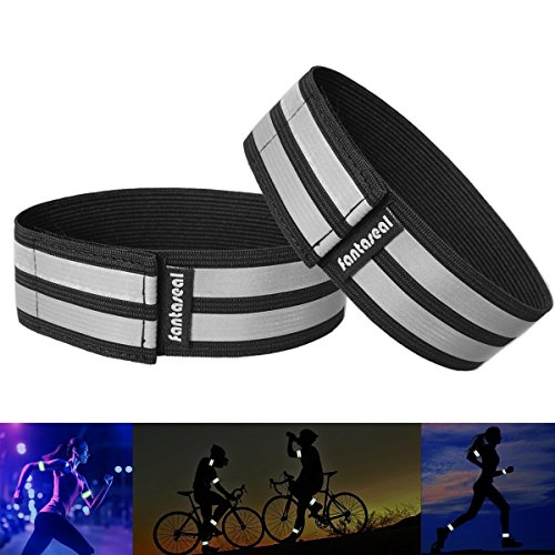 Fantaseal Hi Reflective Visibility Safety Belt Elastic Ankle Bands Armbands Wristband Sweatband Wrist Wrap Leg Strap Belt Reflective Fabric Tape Sports Brace for Walking Jogging Running -(BK, (Reflective Leg Wraps)