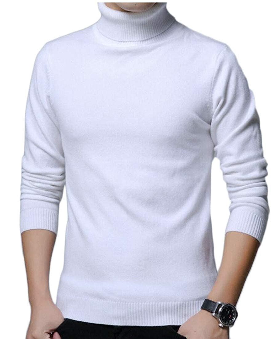 WSPLYSPJY Mens Casual Basic Turtleneck Slim Fit Thermal Sweaters