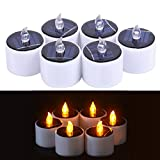 Solar LED Tealight Candles Flameless Flickering Solar Tealights Battery Operated 6Pcs Suitable for Festival Home Decoration Party Night Light Outdoor Activities Emergency lights Gift (Yellow light)