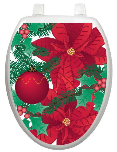 Toilet Tattoos  TT-X600-O Poinsettia Decorative Applique For Toilet Lid, Elongated
