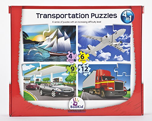 Puzzle Games For Toddlers Set Of 4 Puzzles For Ages 3+ Years Old With An Increasing Difficulty Level - Transportation Puzzles For Children