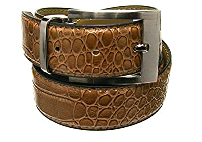 """Men's 1.38"""" Wide Brown Crocodile Embossed Leather Belt with Stylish Buckle"""