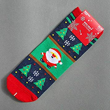 Fygrend - Invierno tripulación de Navidad Divertidos Calcetines de algodón Harujuku Emoji de Santa Muñeco de Nieve Divertido Arte Mujer Calcetines de ...