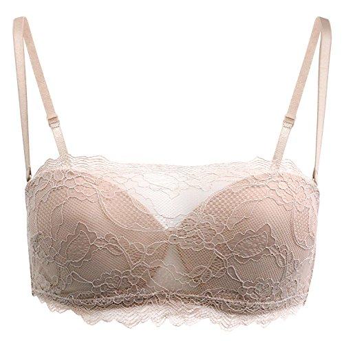 Real Women's Daphne Strapless Multi-way Lace Cami Balconette Bra (S, Rose (Cami Intimate Underwire Bra)