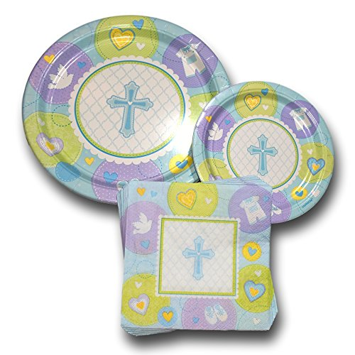 Baptism Religious Blue Cross Party Paper Plates and Napkins Bundle – Party Pack Disposable Dinnerware Set Includes Baby…