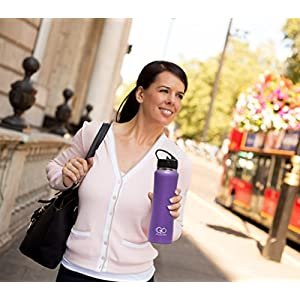 GO Bottles Stainless Steel Insulated Water Bottle with Flip Straw and Sweat-Proof Rubber Grip, H2O Sports Drinking Bottle is BPA Free, Portable, Durable, Good for Kids, Keeps Ice over 20 Hours, 24 oz.