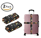 YEAHSPACE Luggage Strap Loves Banana Monkey 2PC Set Suitcase Betlt Travel Belts With 3-dial TSA Combination Lock
