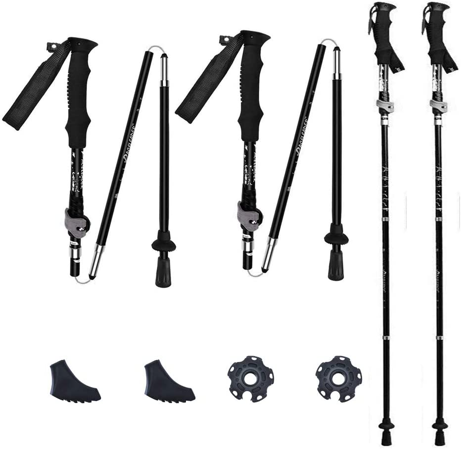 FIRESKIOR Folding Trekking Poles//Ski Poles Ultra Strong /& Lightweight Aluminum Carry Sack and Set of 4 Rubber Tips for Travel Hiking Camping Climbing Backpacking Walking Skiing