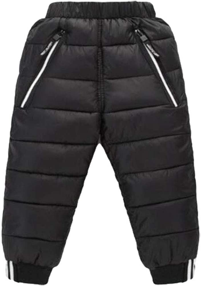 Baby Girls Boys Winter Elastic Snow Pants Kids Down Pants Warm Skiing Windproof Trousers