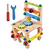 多功能拆装鲁班椅 儿童创意螺母丝组装益智拼装木制积木玩具百变螺母工具木制工作台 (B款)