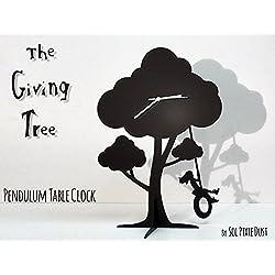 The Giving Tree - Girl Swinging on tire - Silhouette Pendulum Table Clock