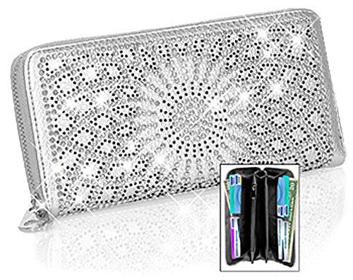 Zzfab Sparkle Wallet Matching Starburst Rhinestone Wallet for Sparkle Purse Silver by Zzfab