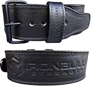Premium Genuine Leather Powerlifting Belt - 10mm Single Prong - 4-inch Wide - Advanced Weight Lifting Belt – L