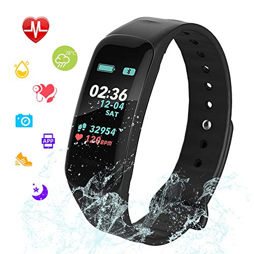 Fitness Tracker, Color Screen Activity Tracker Watch with Blood Pressure Blood Oxygen, IP67 Waterproof Weather Display Smart Band with Heart Rate Sleep Monitor Calorie Counter for Men, Women and Kids