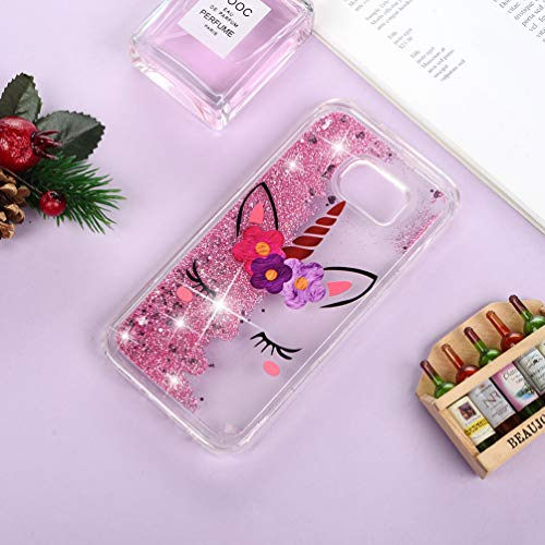 Galaxy S7 Edge Case, Clear Liquid Glitter Case Air-Cushion Drop Resistant Shiny Sparkle Flowing Moving Hearts Shock Absorption TPU Bumper Shell Protective Cover for Samsung Galaxy S7 Edge - Unicorn by KASOS (Image #5)