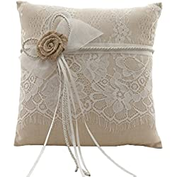 Vivivalue Wedding Bridal Large Burlap Ring Pillow Ring Bearer Pillow Cushion Embroidered Brown