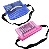 NKTM Waterproof Pouch Dry Bag Fanny Pack(Pack of 2) with Waist Strap Keep Your Cellphone Cash Safe and Dry Perfect for Boating Swimming Snorkeling Kayaking Beach(Blue Pink)