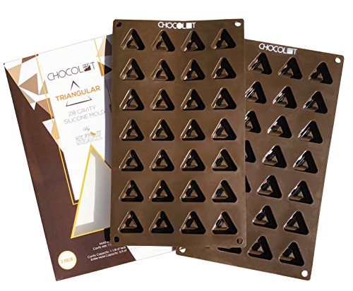 (CHOCOLOT Triangular 28-Cavity Per Mold (56 Total) Silicone Chocolate/Candy/Ice/Gummy/Lotion/Fat Bomb Mold, LFGB Grade Silicone, BPA Free, Oven Safe - Cavity Capacity 1-1/8 of teaspoon (0.19 ounce) (2))