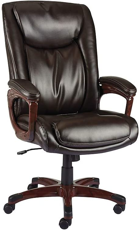 Staples 2263720 Westcliffe Bonded Leather Managers Chair Brown