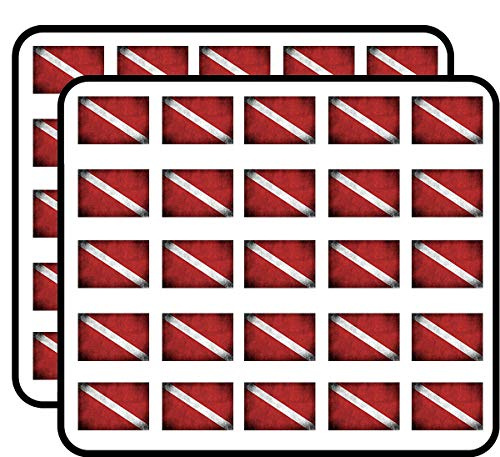 (Vintage Scuba Dive Flag (Diver Diving Distressed) Sticker for Scrapbooking, Calendars, Arts, Kids DIY Crafts, Album, Bullet)