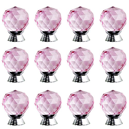 Pink Kids Drawer Knobs - 30mm Pink Crystal Glass Ball Shape Knobs /Handles/Pulls for Kitchen Cabinets ,Cupboards,Wardrobe,Drawer,Dresser ,Bin,Chest etc Vintage DIY Home Decorative 8 Colors Available (set of 12 PCS )
