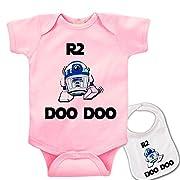 R2 Doo Doo   Custom Printed Star Wars Baby bodysuit onesie & Matching bib Set
