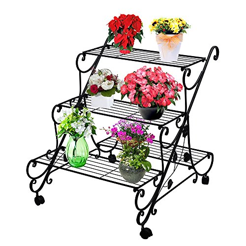 AISHN Plant Flower Stand Rack Display with Wheels- 4 Tier Large Metal Plant Flower  Shelf Holder/ Muti Planter Flower Pot/ Step Design Shelving/ Freestanding Home Decor Shelves (4 Tier Metal Plant Stand)