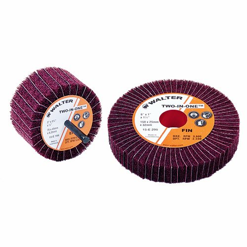 Walter Two-in-One Abrasive Flap Wheel, Threaded Hole, Aluminum Oxide, 3'' Diameter, 1-1/2'' Face Width, Grit 150, 8000 Maximum RPM (Pack of 10)