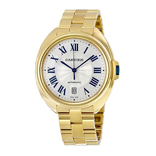 Cartier Cle Silvered Flinque Dial 18k Yellow Gold Mens Watch WGCL0003