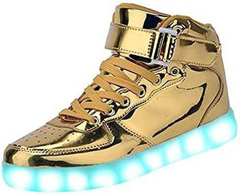 BeKing Kids Boys Girls's High Top Light Up Shoes LED Flashing Sneakers