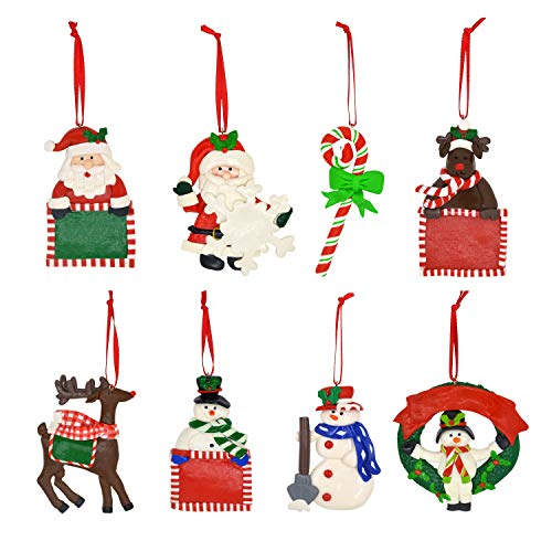 U-Goforst 8 Peice Jumbo Christmas Tree Ornament Clay Figurine Holiday Stocking Decorations Santa Claus Reindeer Candy Cane Snowman Hanging Charms (Set A) ()