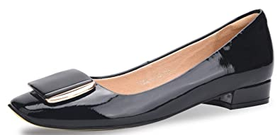 6a6faa744c1 WSKEISP Womens Low Heel Chunky Block Pumps Shoes Slip on Flats Black Patent  Leather Size US5