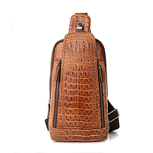 Men's Sing Bag,Leather Crocodile Pattern Cross Body Backpack Shoulder Bags Casual Chest Bag Travel Hiking Daypacks