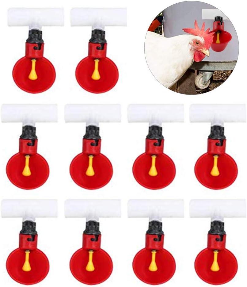 Bebederos de Pollo Tazas 10Pcs Plástico automático Bebedero de Aves de Corral Waterer 1/2 Pulgada tee Tazas de dispensador de Agua Tazones para Aves Codorniz Paloma Gallina Ganado