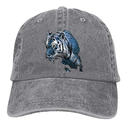 - Blue Space Sky Tiger Christmas Denim Hat Adjustable Mens Baseball Cap