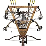 Rush Creek Creations Universal 3 Archery Bow Rack Wall Mount with 12 Arrow Capacity American Cherry Finish - Features 3 Adjustable Bow Hanging Locations