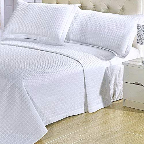 Coverlet and Shams Set Modern 3 Piece Full Queen Size Double Quilted Geometric Pattern Solid White Lightweight Reversible Hypoallergenic Wrinkle Free Soft Quilt Bedding (Sham Double Queen)
