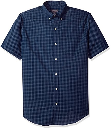 Van Heusen Men's Wrinkle Free Short Sleeve Button Down Shirt, Carbon Blue, Large