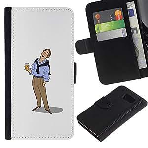 All Phone Most Case / Oferta Especial Cáscara Funda de cuero Monedero Cubierta de proteccion Caso / Wallet Case for Samsung Galaxy S6 // Beer Man Art Drawing Holiday Relaxed